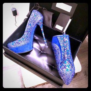 Gianmarco Lorenzi blue crystal heels 38